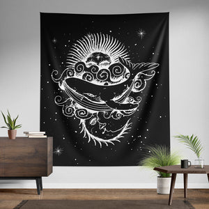 Sun and Moon Whale Wall Tapestry