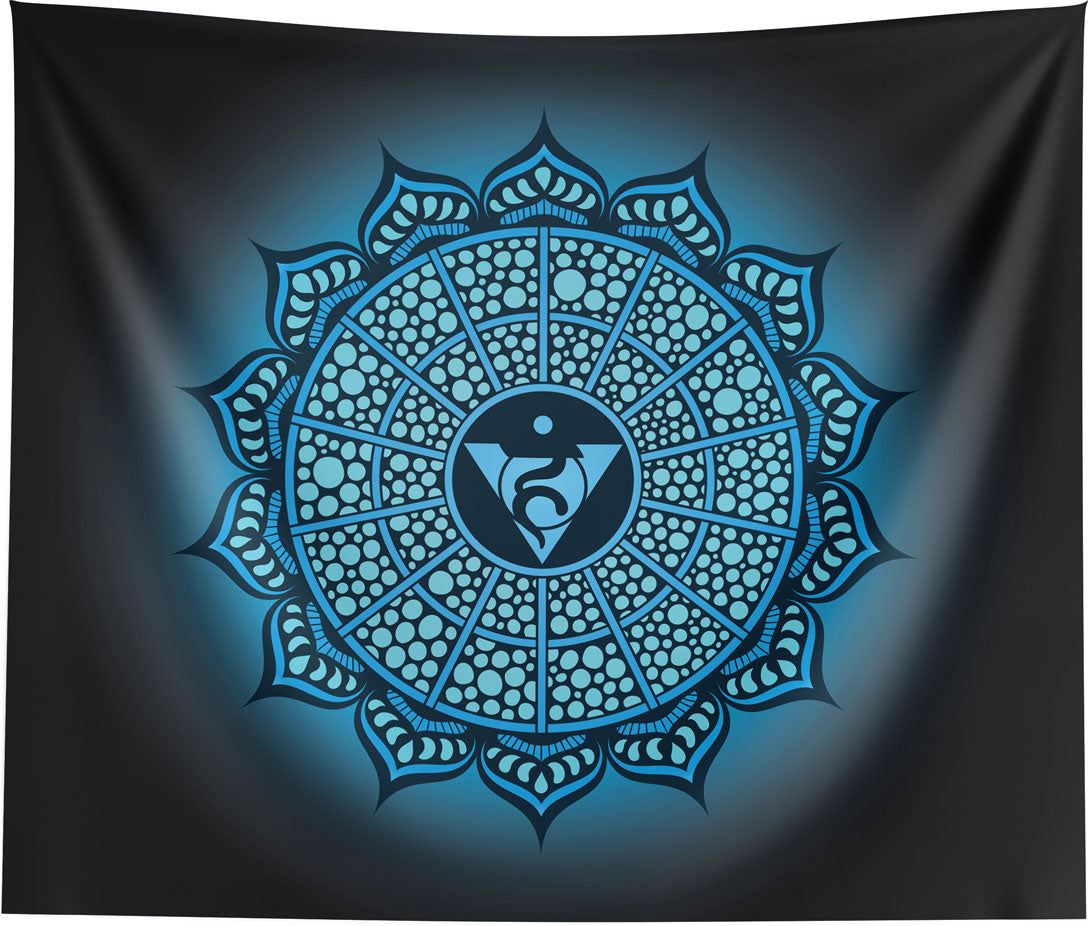 Throat Chakra Mandala Spiritual Wall Tapestry Home Decor