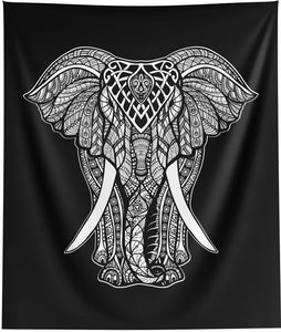 White Elephant Black Wall Tapestry