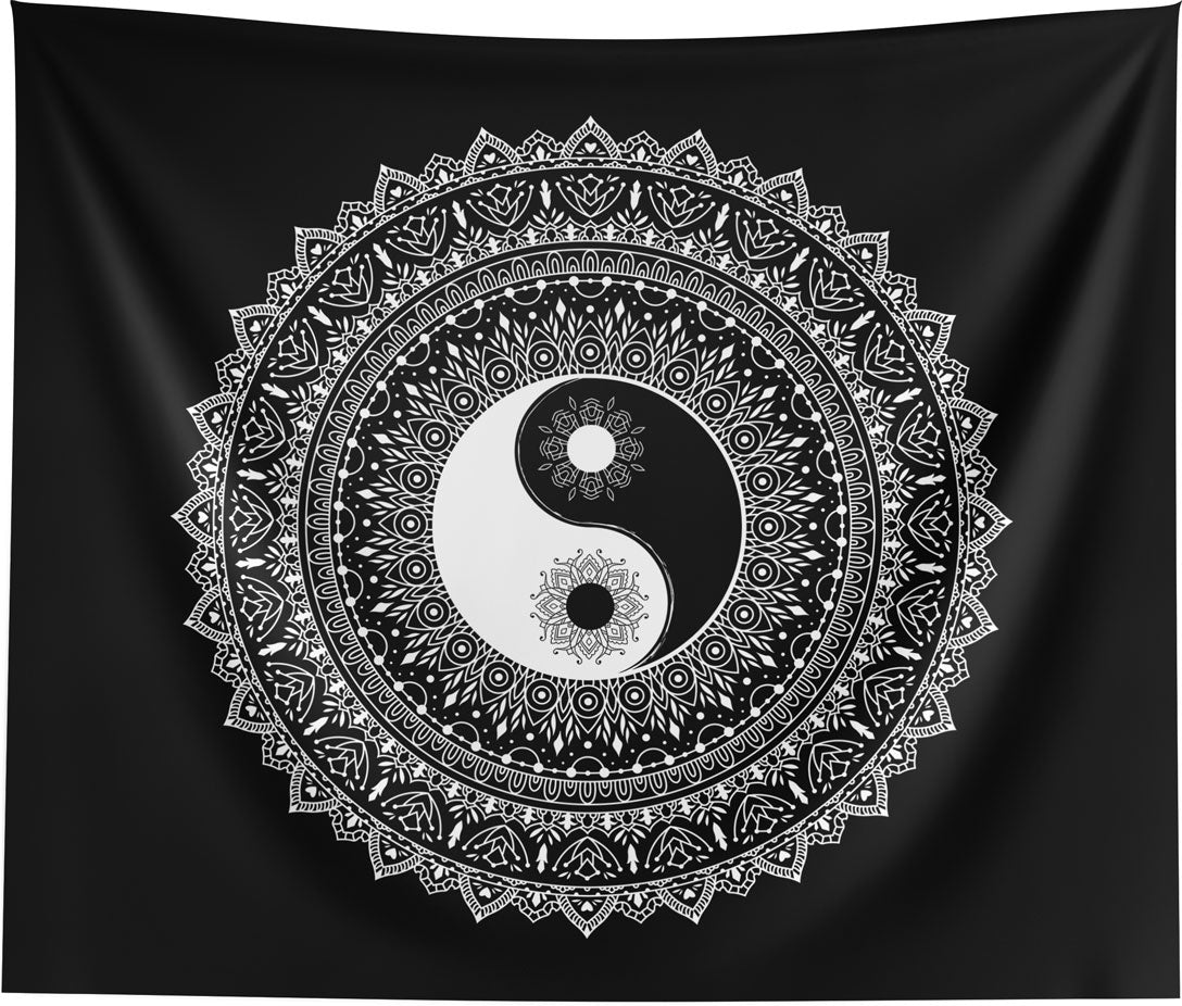 Yin Yang Black White Mandala Spiritual Wall Tapestry Home Decor