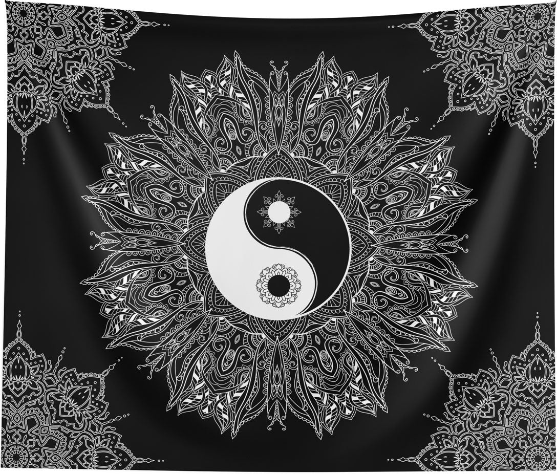Yin Yang Black and White Mandala Wall Tapestry Spiritual Home Decor