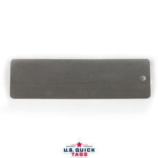 "Stainless Steel Blank Metal Tag - .016"" x 1.062"" x 3.5"" - One Hole"