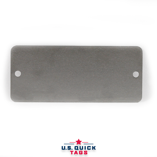 "Stainless Steel Blank Metal Tag - .016"" x 1.5"" x 3.5"" - Two Holes"
