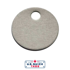 "Stainless Steel Blank Metal Tag - .032"" x 1.375"" x 1.375"" - One Hole"