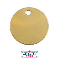 "Brass Blank Metal Tag - .032"" x 1.5"" x 1.5"" - One Hole"