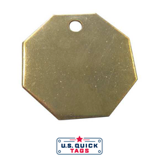 "Brass Blank Metal Tag - .032"" x 1.25"" x 1.25"" - One Hole"
