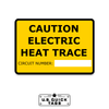"Caution: Electric Heat Trace Adhesive Decal - 1.75"" x 2.75"" (100 Pack)"