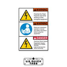 "WARNING / DANGER Vinyl Adhesive Decal - 3.5"" x 5"" (100 Pack)"