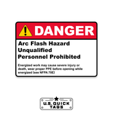 "Danger: Arc Flash Hazard Adhesive Decal - 1.75"" x 2.75"" (100 Pack)"