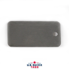 "Stainless Steel Blank Metal Tag - .016"" x 1"" x 2"" - One Hole"
