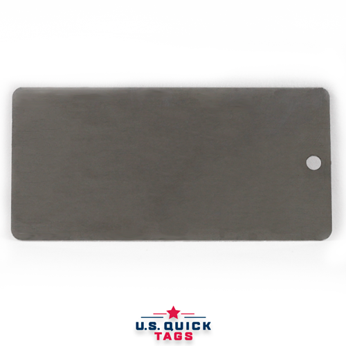"Stainless Steel Blank Metal Tag - .016"" x 1.725"" x 3.5"" - One Hole"
