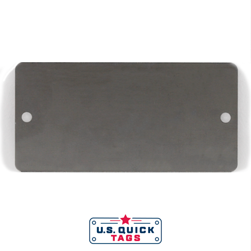 "Stainless Steel Blank Metal Tag - .016"" x 1.725"" x 3.5"" - Two Holes"
