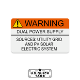 "Warning: Dual Power Supply Adhesive Decal - 1.625"" x 2.75"" (100 Pack)"