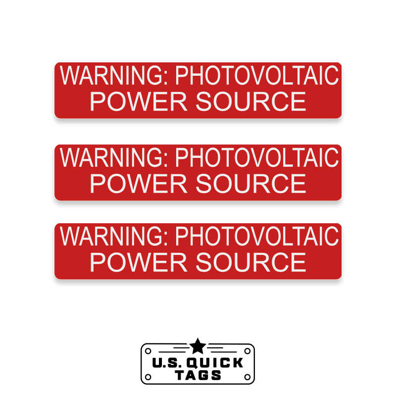 "Warning: Photovoltaic Power Source Adhesive Decal - 1.25"" x 5.75"" (100 Pack)"