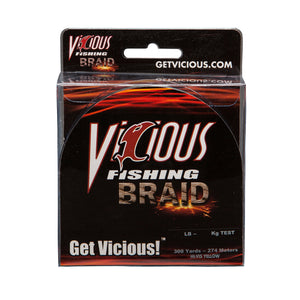 10lb Vicious Hi-Vis Yellow Braid - 300 Yards