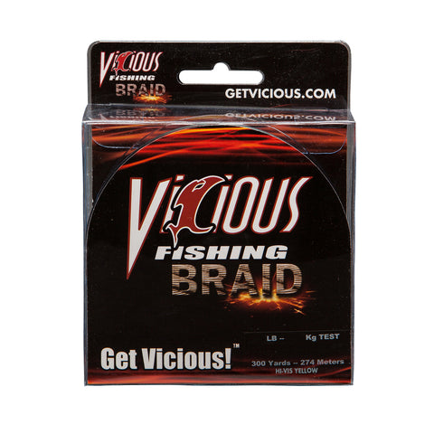 20lb Vicious Hi-Vis Yellow Braid - 300 Yards