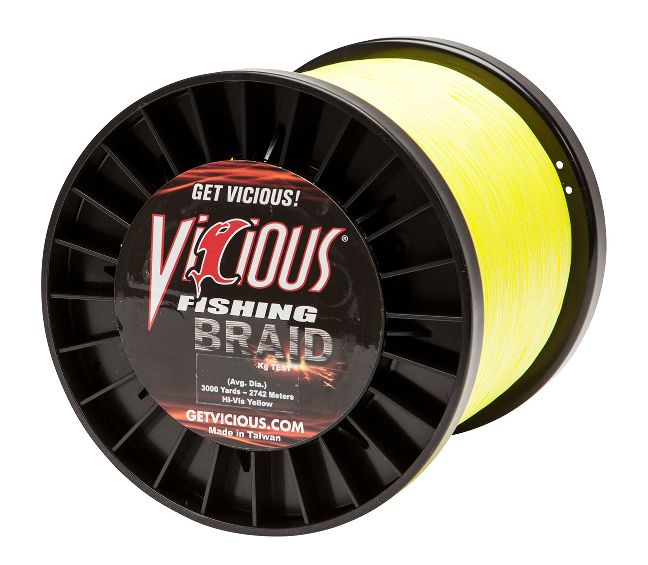 120lb Vicious Hi-Vis Yellow Braid - 3000 Yards
