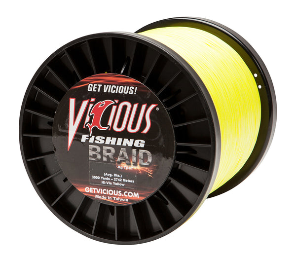 50lb Vicious Hi-Vis Yellow Braid - 3000 Yards