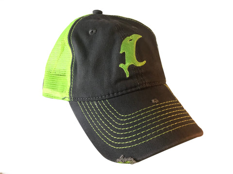 Vic Chartreuse Distressed Adjustable Hat
