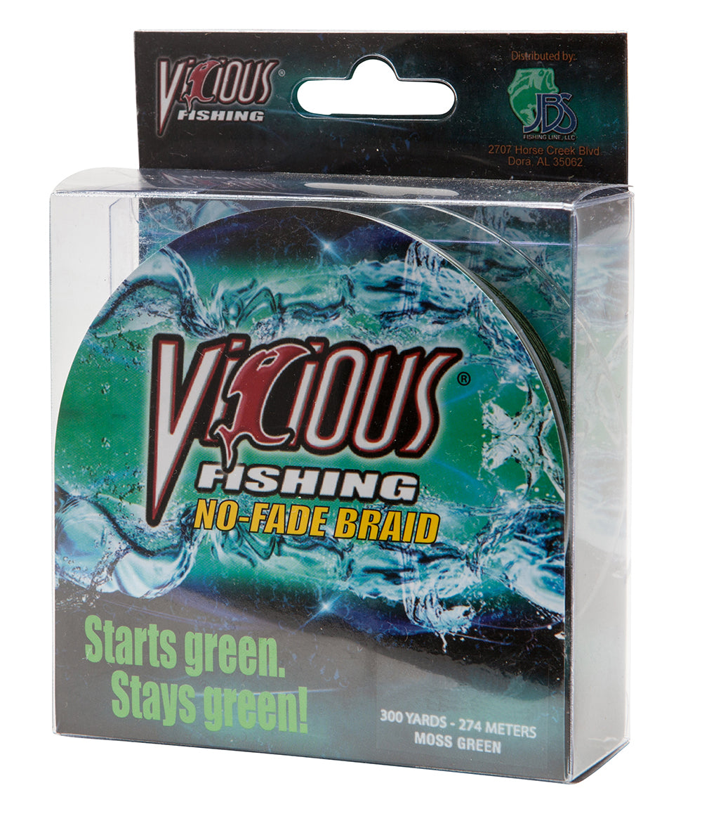 20lb Vicious Moss Green No-Fade Braid - 300Yards