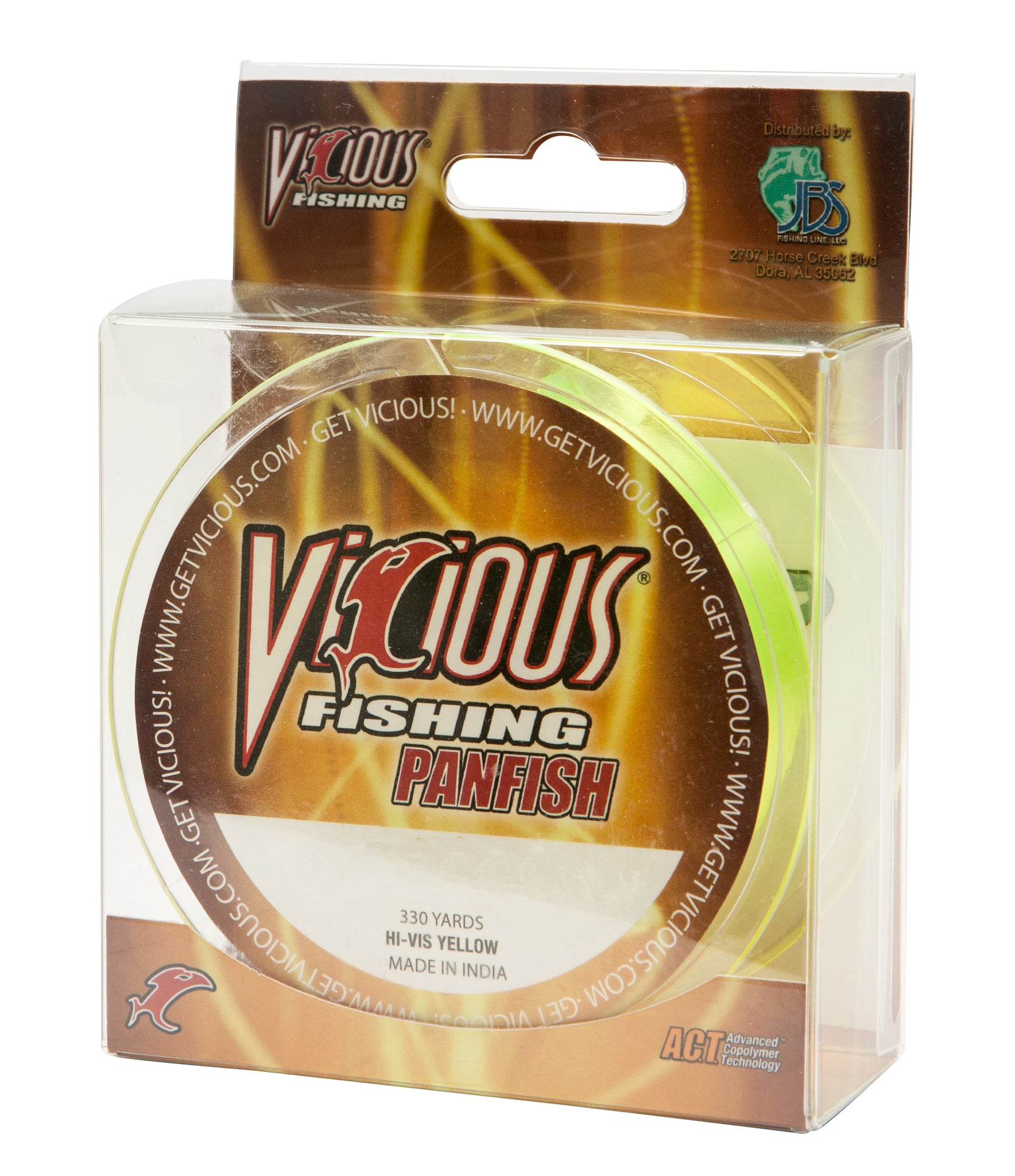 6lb Vicious Hi-Vis Yellow Panfish -  330 Yards