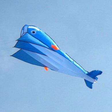 AGPtek 3D Kite Huge Frameless Soft Parafoil Giant Dolphin Kite Blue