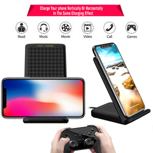 Qi Wireless Charger Dock bracket Pad Mat + Cooling Fan for Apple iPhone X  8/8 Plus+