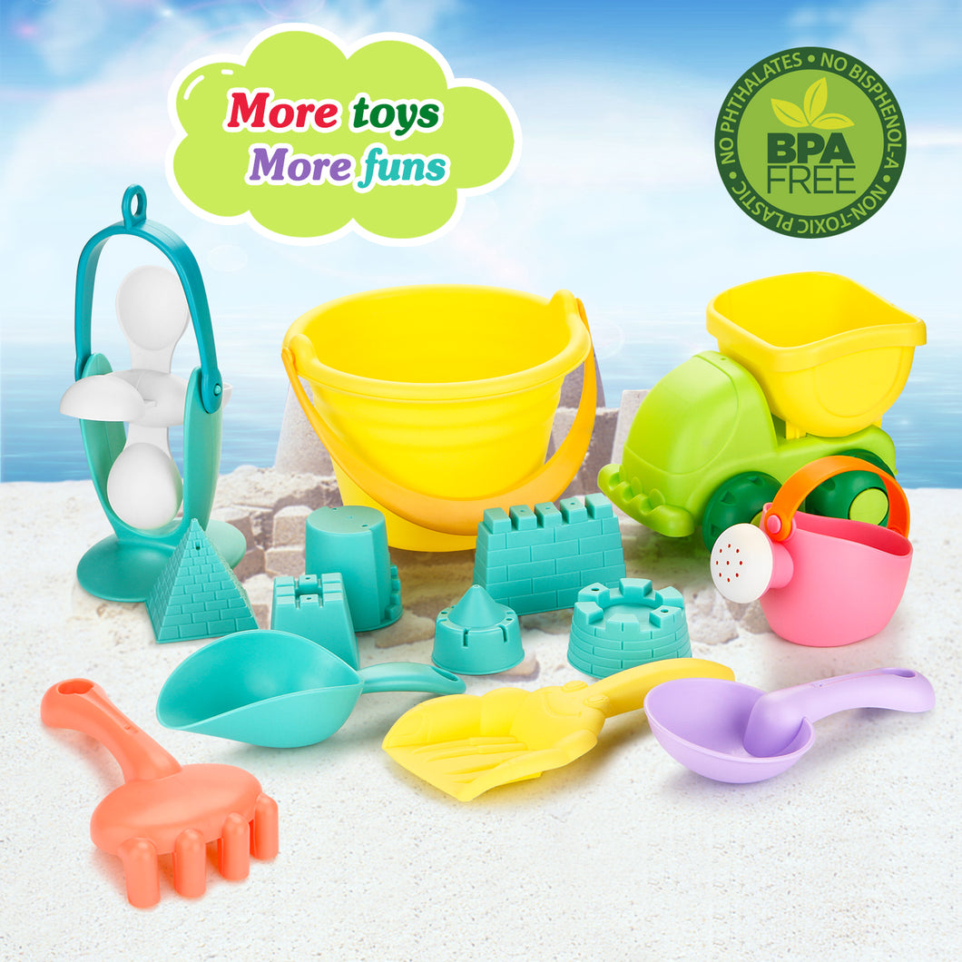 Fitnate 14PCS Beach Toys Set Soft Plastic Pool Toys / Bath Toys for Kids, Boys, Girls & Toddler with Mesh Bag, Truck, Bucket, Shovels, Rakes, Lots of Sand Molds (BPA Free)
