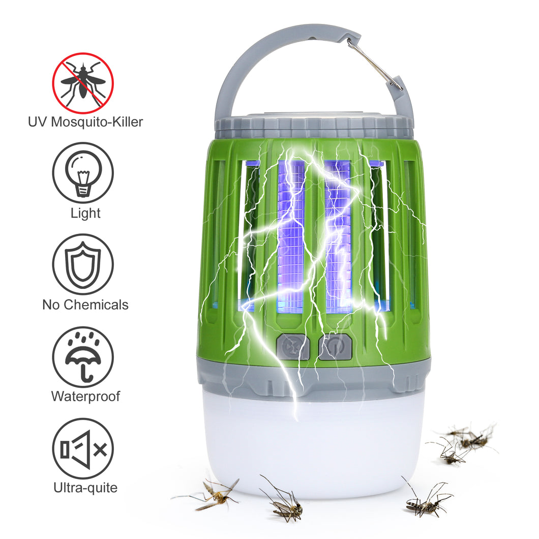 ODOLAND 2 in 1 LED Mosquito Killer Camping Light Lamp, USB Rechargeable Mosquito Zapper Light For Bedroom, Garden, Camping