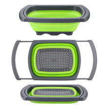 HK Over The Sink Collapsible Colander Kitchen Food Strainer 6-quart Capacity Strainers and Colanders with Extendable Handles Ideal For Washing Fruits, Vegetable, etc. BPA Free (Green)