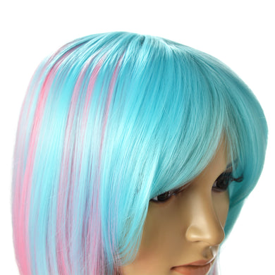 AGPTEK Multi-Color Ombre Short Bob Wig, Shoulder Length Women's Cosplay Party Halloween Costume Soft Synthetic Lace Full Wig with Free Stretchable Hairnet