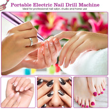 FINATE  Silver Purple Electric Nail Drill Kit Prol Gel Polish Nail File Brush Grinder Machine