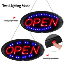 LED Open Sign, 19x10inches(Update Version) Business Open Sign Advertisement Board Electric Display Sign,With Remote Control&Timing Function,2 Lighting Modes Flashing & Steady, for Business, Walls, Window, Shop, Bar, Hotel
