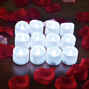 12pcs LED Tealight Candle with 100pcs Fake Rose Petals Flameless Flower Party Wedding