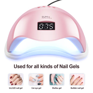 Pink LED Nail Lamp 48W UV LED Gel Nail Lamp with 4 Timers 10s/30s/60s/99s Auto Sensor