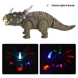 Battery Powered Walking Dinosaur Triceratops Toy Figure with Many Lights & Sounds, Real Movement