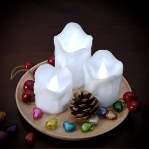 LED Candles Battery Operated Flameless smokeless Flickering  3 PCS/set Wax Dripped Exterior design Premium Votive Candles for Wedding/Party Decorations cool white