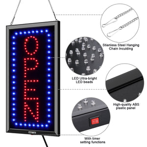 LED Open Sign, 19x10inches(Update Version) Business Open Sign Advertisement Board Electric Display Sign,With Remote Control&Timing Function,2 Lighting Modes Flashing & Steady