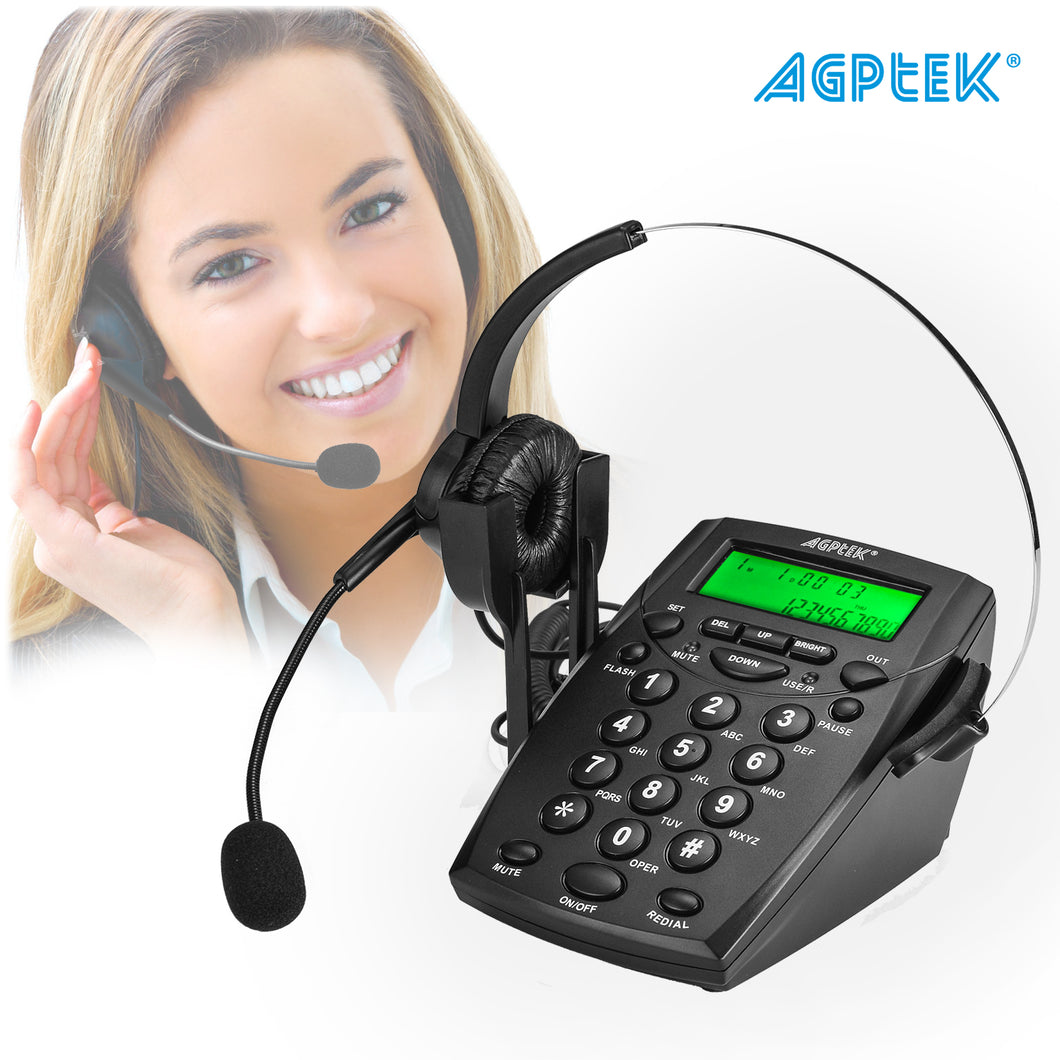 Call Center Dialpad Headset Telephone with Tone Dial Key Pad & REDIAL