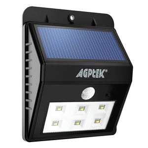 AGPtek Solar lights, Bright 6 LED Solar Powered Led Security Lights with Motion Sensor Wireless Waterproof Wall Lights
