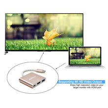 USB-C to HDMI Adapter Type-C 3in1 USB 3.1 USB-C to USB 3.0/4Kx2K HDMI/ Type C Female Charger Adapter for New Macbook, Google Chromebook Pixel, 2015 Macbook 12 inch Laptop
