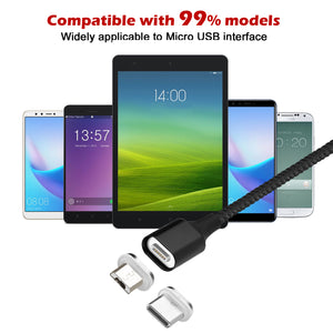 Black 3.0A Magnetic Micro USB Android interface Fast Charging Charger Data Sync Cable Cord