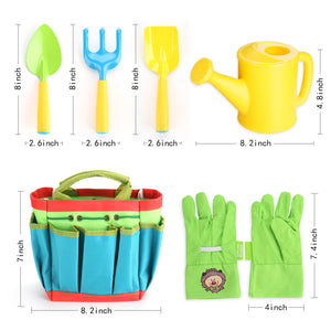 Fitnate® Green Kids Garden Tools Set,6 PCS Garden Tools Including Watering Can, Shovel, Rake, Fork, Children Gardening Gloves  And Garden Tote Bag, All In One Set