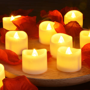 LED Tealight Candles Battery Operated Flameless smokeless 12 PCS/set with Decorative Fake Rose Petals for Tealight votive Holders & Lantern warm white color