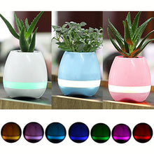 Music Flowerpot Touch Plant Piano Music Playing Flowerpot Smart Multi-color LED Light Round Plant Pots Bluetooth Wireless Speaker (without Plants) White  blue  Pink