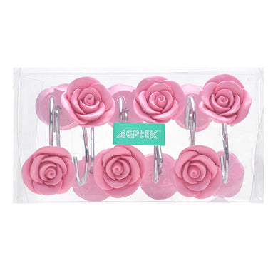 AGPtek® 12 PCS Fashion Decorative Home Rose Shower Curtain Hooks For Interior decoration, Soldering Iron, Pink