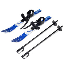 Kids Beginner Ski Boards & Poles, ODOLAND Low-Resistant Ski Boards for Age 4 and Under, Snowflake