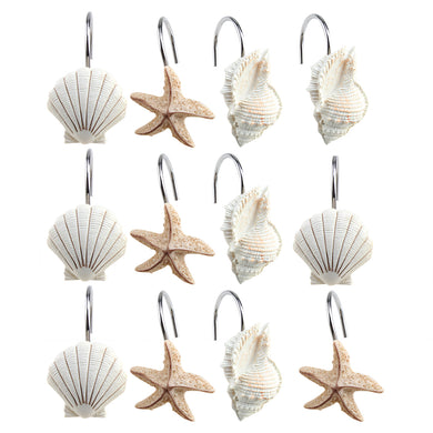 AGPTEK 12 PCS DECORATIVE Seashell Shower Curtain Hooks Bathroom Beach Shell Decor