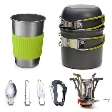 ODOLAND Camping Cookware Kit Lightweight Portable Cookware Set with Water Cup Fork Kit and Multi-functional Carabiner with Knife, Great for Backpacking Outdoor Camping Hiking and Picnic