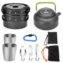 ODOLAND 10pcs Camping Cookware Mess Kit Lightweight Pot Pan Kettle with 2 Cups Fork Knife Spoon Kit for Backpacking Outdoor Camping Hiking and Picnic